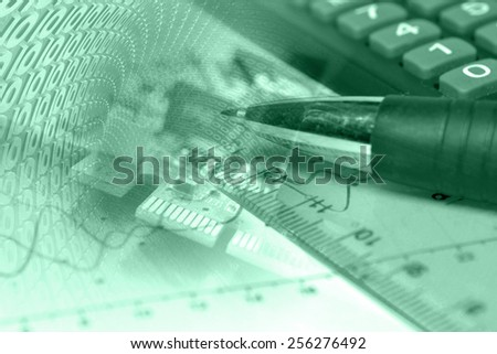 Business background with electronic device and digits, green toned. - stock photo