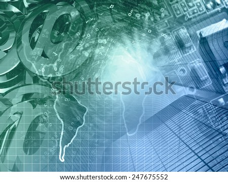 Business background with electronic device and digits, in greens and blues. - stock photo