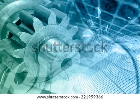 Business background with gears and digits, in greens and blues.