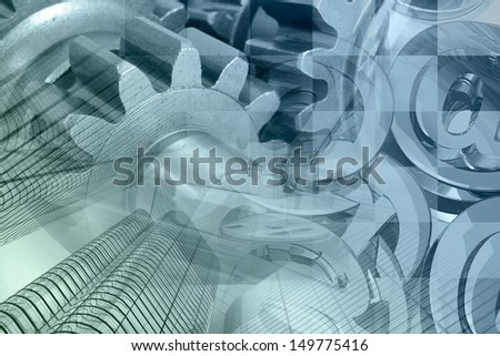Business background with gears, buildings and mail signs. - stock photo