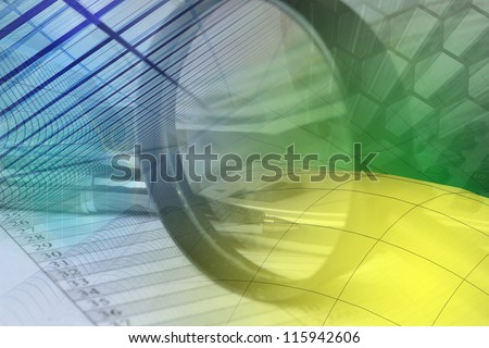 Business background with graph, pen, buildings and magnifier. - stock photo