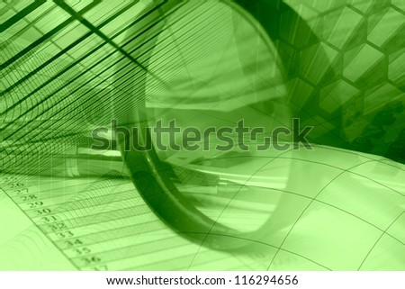Business background with graph, pen, buildings and magnifier, in greens. - stock photo