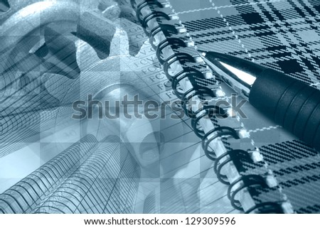 Business background with hands, buildings, notepad and pen, blue toned. - stock photo