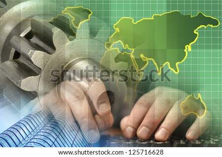 Business background with hands, gear and map, in greens and blues.
