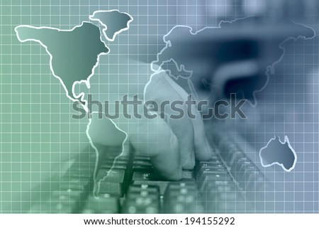 Business background with hands, keyboard and map, in greens and blues. - stock photo