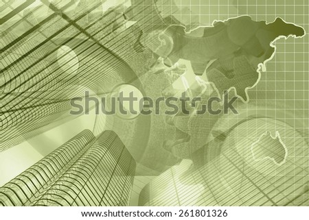 Business background with map, buildings and gears, sepia toned. - stock photo