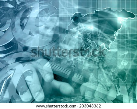 Business background with map, electronic device and mail signs, in blues and greens. - stock photo