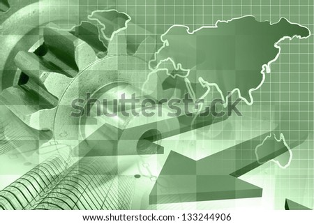 Business background with map, gear and buildings, in greens. - stock photo