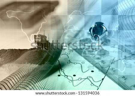 Business background with map, graph and buildings, toned.