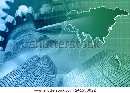 Business background with money, gears and pen, in greens and blues. - stock photo