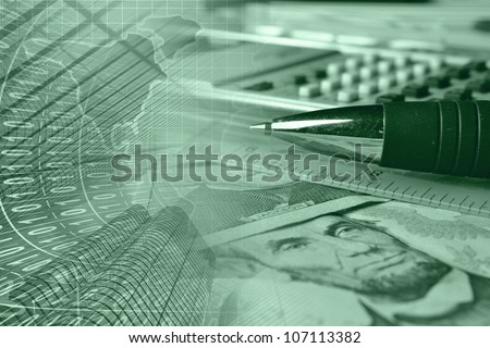 Business background with money, ruler, pen and calculator, greens. - stock photo