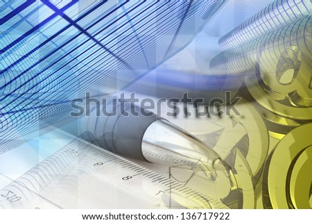 Business background with pen, buildings and mail signs. - stock photo
