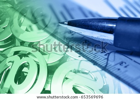 Business background with pen, mail signs and ruler, in greens and blues.