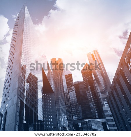 business background with skyscrapers - stock photo