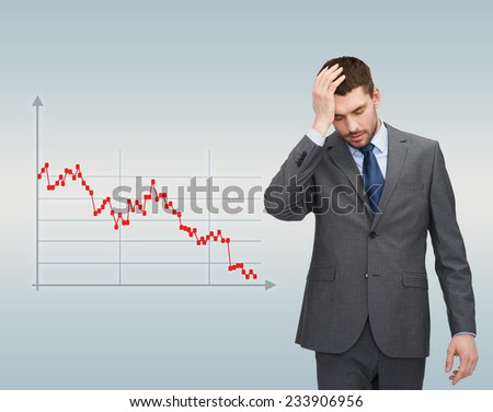 business, bankruptcy, people and stress concept - unhappy businessman over gray background and forex graph going down - stock photo