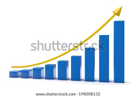 Business bar graph. Clipping path included.