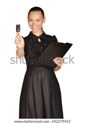 Business beautiful girl holding paper holder and car keys - stock photo
