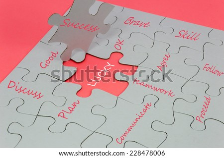 Business behavior language on white jigsaw puzzle - stock photo
