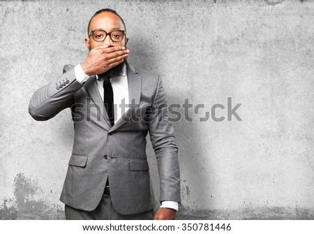 business black man covering his face - stock photo
