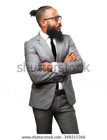 business black man crossing arms - stock photo