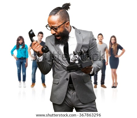 business black man holding a telephone - stock photo