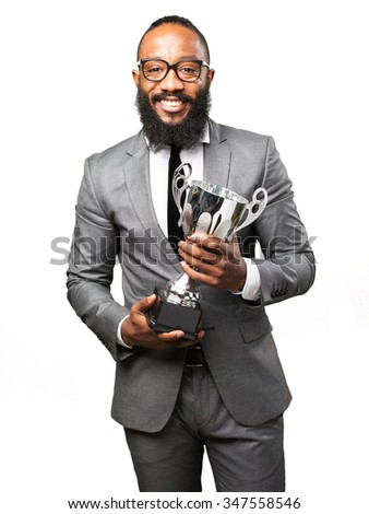 business black man holding a trophy - stock photo