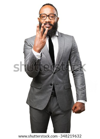 business black man number three sign - stock photo