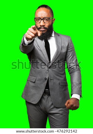 business black man pointing front