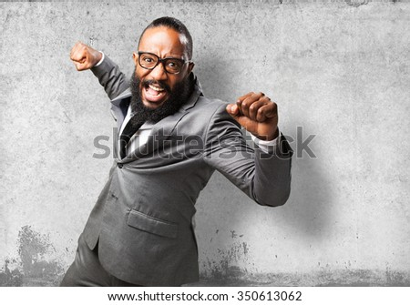 business black man punching to front