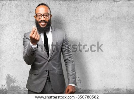 business black man rich gesture - stock photo