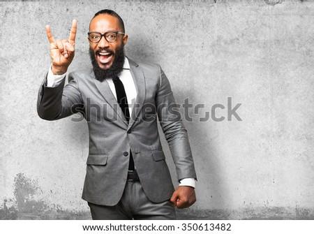 business black man rock gesture - stock photo