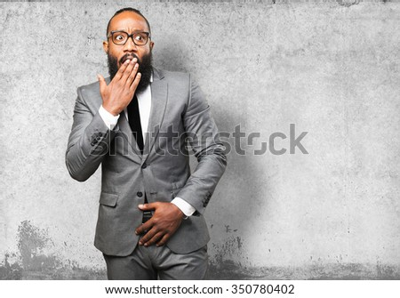 business black man surprised - stock photo