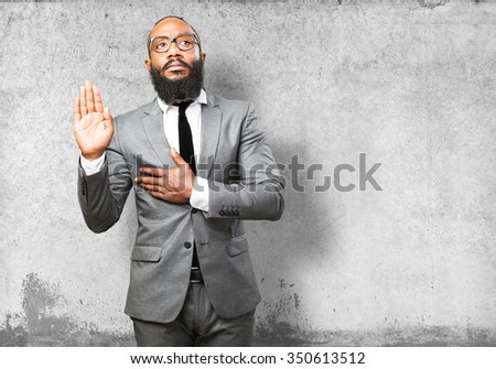 business black man swearing - stock photo