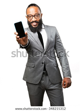 business black man with a tablet - stock photo