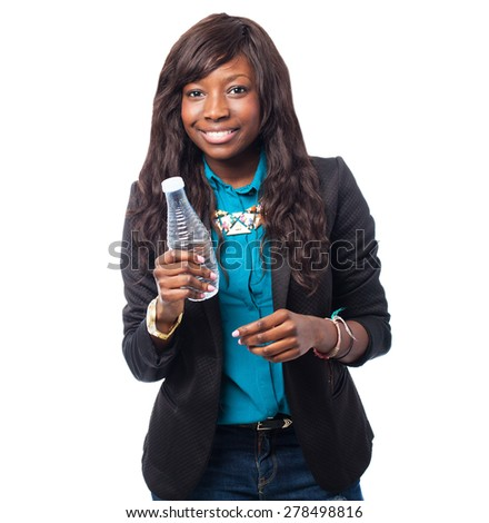 business black woman holding a water bottle
