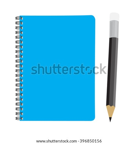 business blue note book and pencil set raster illustration