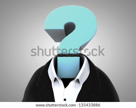 Business body with a big interrogation sign as head, 3d render - stock photo