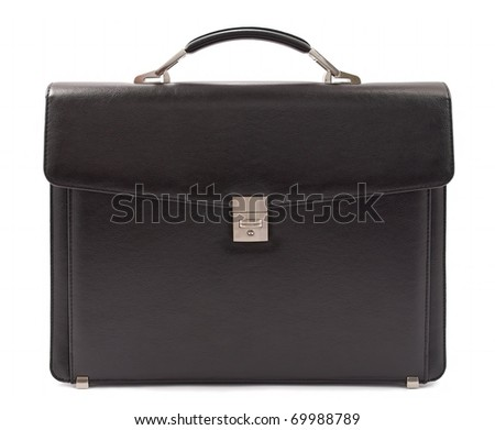 Business briefcase isolated. Front view - stock photo