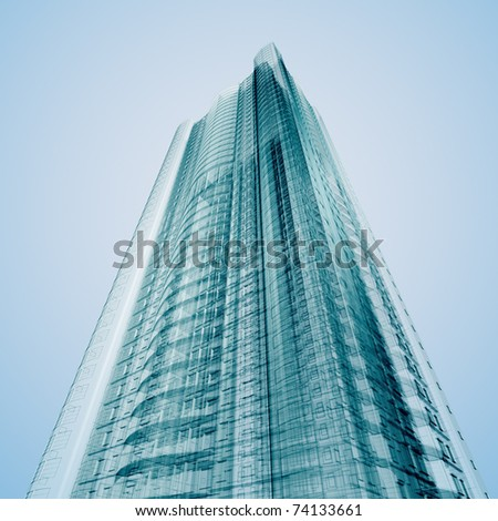 Business building. Abstract 3d render - stock photo