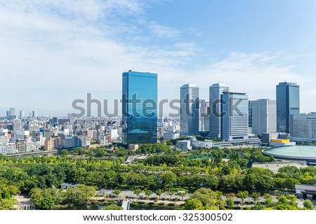 Business building in Japan, Osaka - stock photo