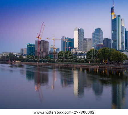Business buildings in the center of Frankfurt, Germany, in the morning