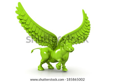 Business bull with wings - stock photo
