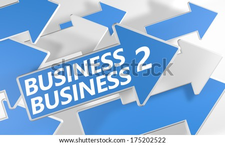 Business 2 Business 3d render concept with blue and white arrows flying over a white background. - stock photo