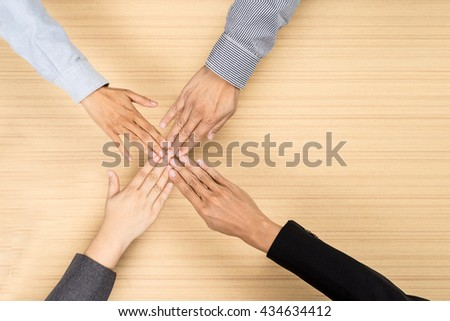 Business, business people showing unity with their hands together, Business concept, soft focus, vintage tone - stock photo