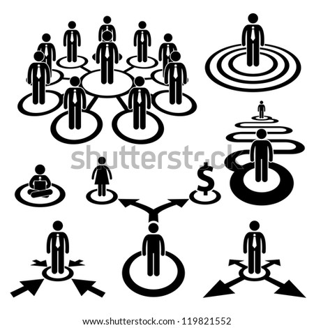 Business Businessman Workforce Teamwork Company Cooperation Stick Human Resources Figure Pictogram Icon - stock photo