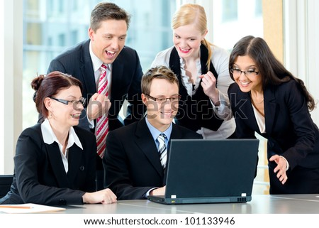 Business - businesspeople have team meeting in an office with laptop, it is a very good team - stock photo