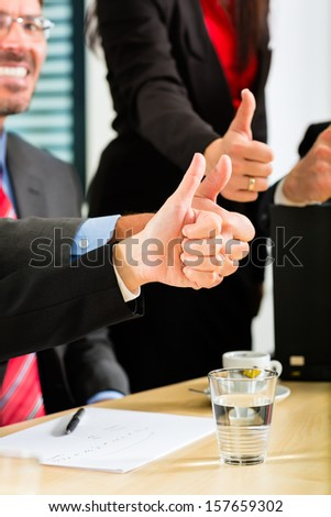 Business - businesspeople have team meeting or workshop in an office, it is a very good team - stock photo