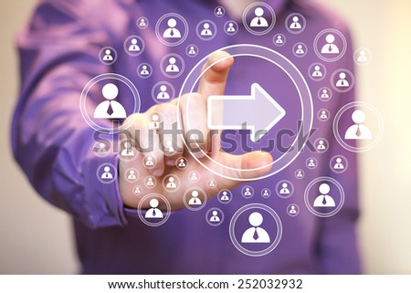 Business button arrow icon connection communication web - stock photo