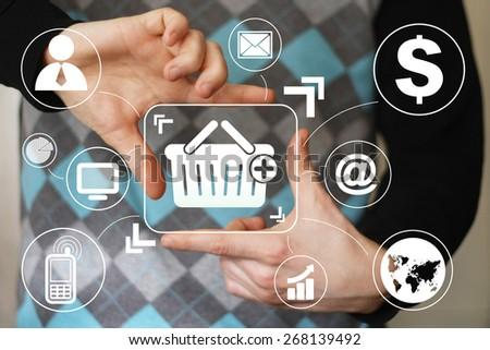 Business button basket trolley shopping web virtual - stock photo