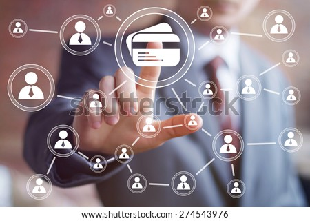 Business button credit card icon web icon - stock photo